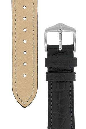 Hirsch Aristocrat Crocodile-Embossed Leather Watch Strap in Black (Tapers & Buckle)