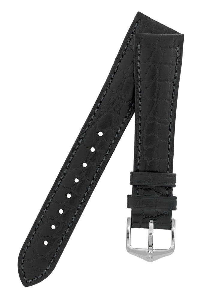 Hirsch Aristocrat Crocodile-Embossed Leather Watch Strap in Black