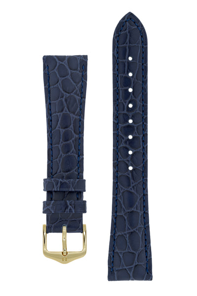 Hirsch ARISTOCRAT Croco Embossed Leather Watch Strap in BLUE