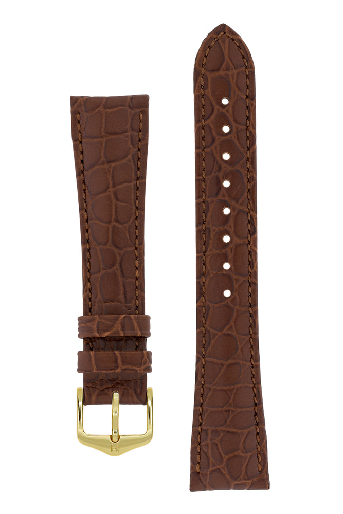 Hirsch Aristocrat Crocodile-Embossed Leather Watch Strap in Brown (with Polished Gold Steel Buckle)