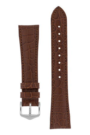 Hirsch Aristocrat Crocodile-Embossed Leather Watch Strap in Brown (with Polished Silver Steel Buckle)