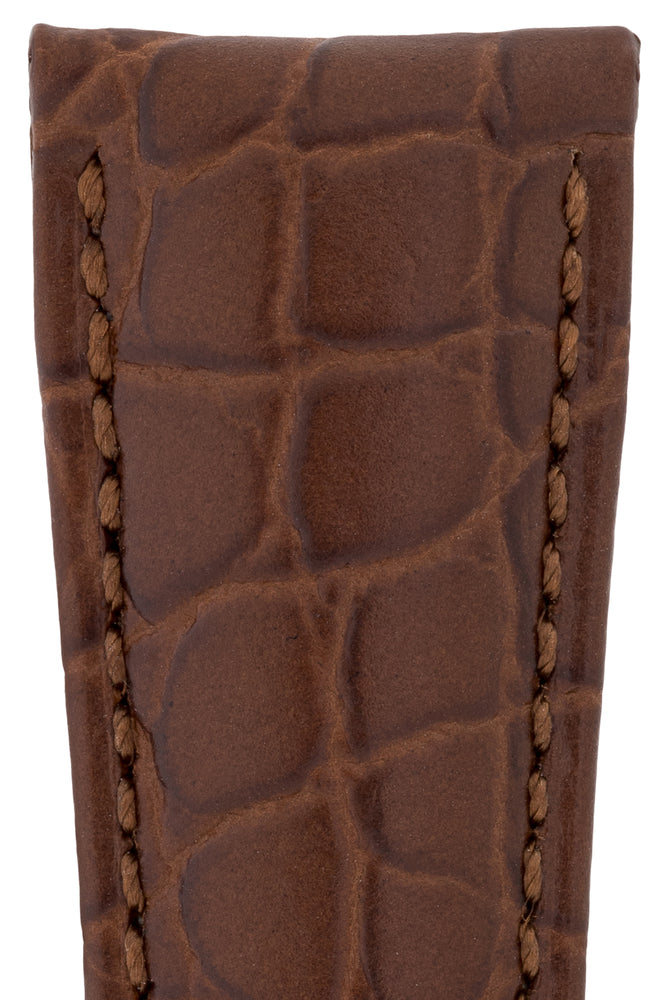Hirsch Aristocrat Crocodile-Embossed Leather Watch Strap in Brown (Texture Detail)
