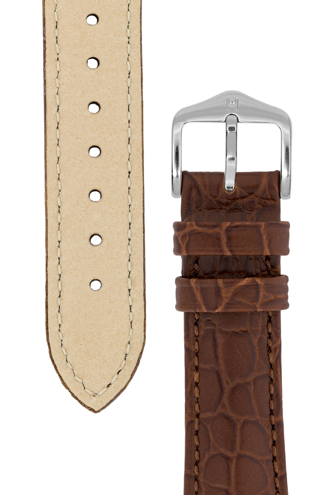 Hirsch Aristocrat Crocodile-Embossed Leather Watch Strap in Brown (Tapers & Buckle)