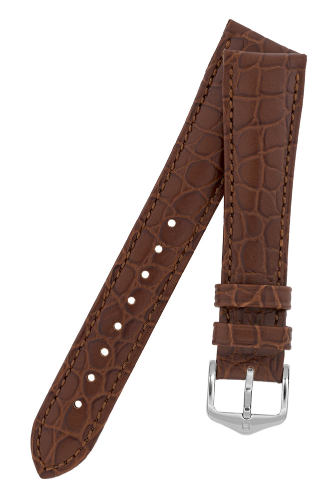 Hirsch Aristocrat Crocodile-Embossed Leather Watch Strap in Brown