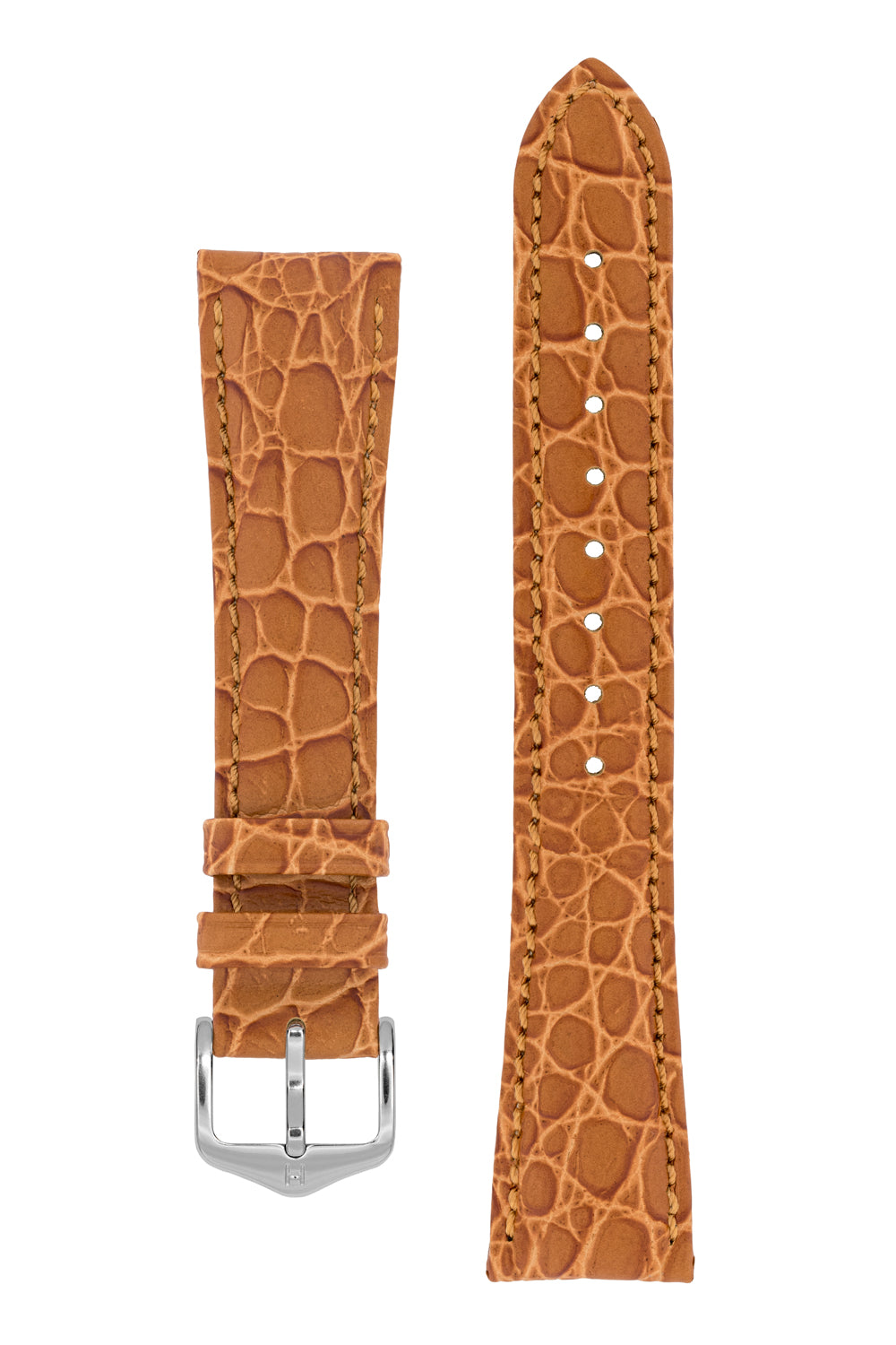 Hirsch ARISTOCRAT Croco Embossed Leather Watch Strap in GOLD BROWN