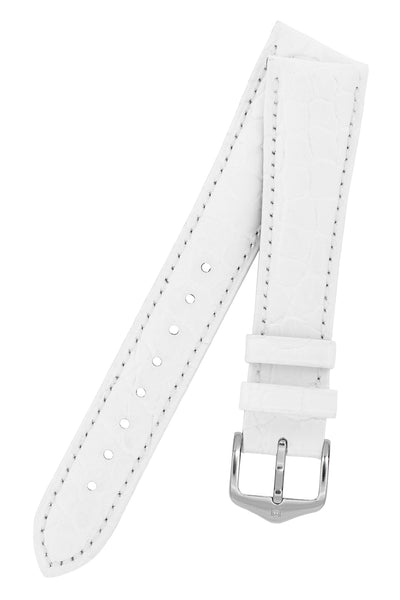 Hirsch ARISTOCRAT Croco Embossed Leather Watch Strap in WHITE