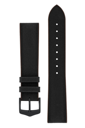 Hirsch Arne Sailcloth Effect Performance Rubber Watch Strap in Black & Brown (with Black PVD-Coated Steel H-Classic Buckle)