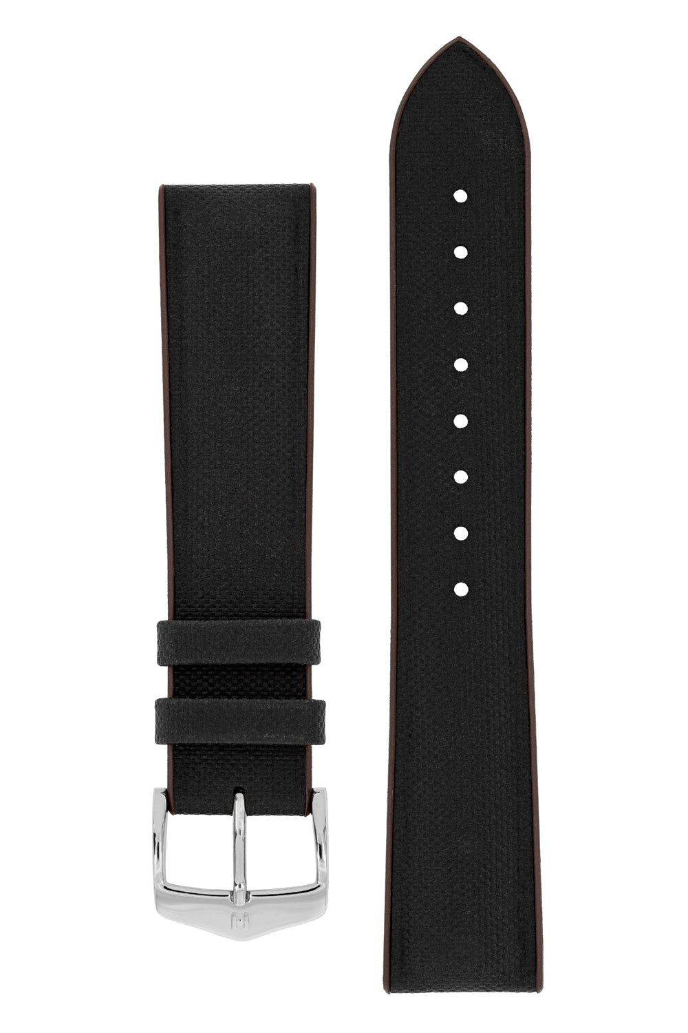 Hirsch ARNE Sailcloth Effect Performance Watch Strap in BLACK/BROWN