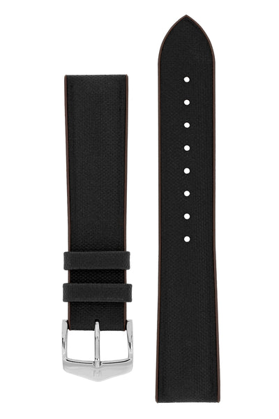 Hirsch Arne Sailcloth Effect Performance Rubber Watch Strap in Black & Brown (with Polished Silver Steel H-Classic Buckle)