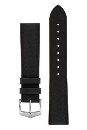 Hirsch Arne Sailcloth Effect Performance Rubber Watch Strap in Black & Brown (with Brushed Silver Steel H-Classic Buckle)