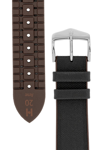 Hirsch Arne Sailcloth Effect Performance Rubber Watch Strap in Black & Brown (Tapers & Buckle)