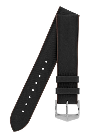 Hirsch Arne Sailcloth Effect Performance Rubber Watch Strap in Black & Brown