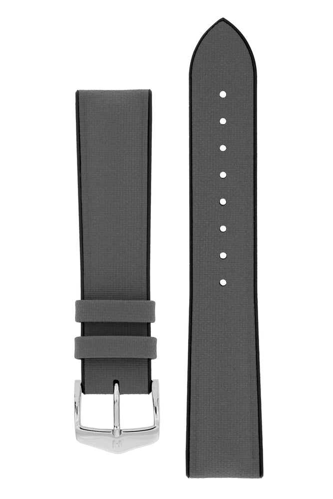 Hirsch ARNE Sailcloth Effect Performance Watch Strap in GREY/BLACK