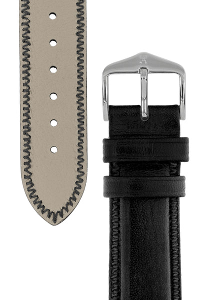 Hirsch Ascot English Leather Watch Strap in Black (Tapers & Buckle)