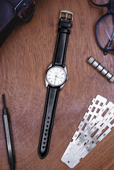 Hirsch Ascot English Leather Watch Strap in Black (Promo Photo)