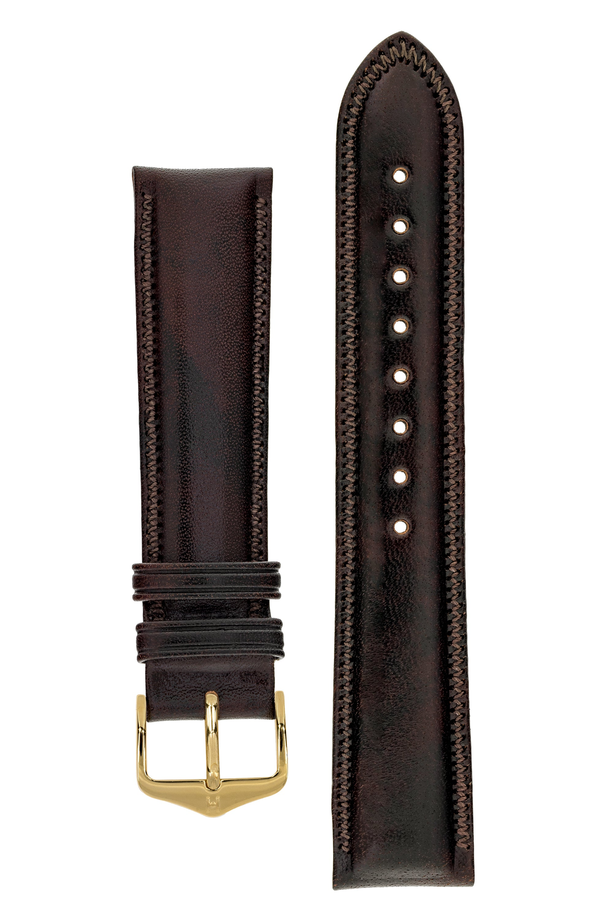 Hirsch ASCOT English Leather Watch Strap in BROWN