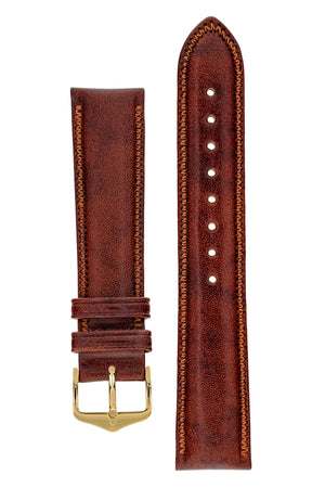 Hirsch Ascot English Leather Watch Strap in Gold Brown (with Polished Gold Steel H-Tradition Buckle)