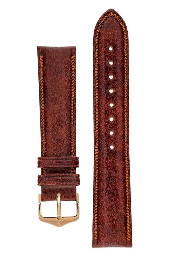 Hirsch Ascot English Leather Watch Strap in Gold Brown (with Polished Rose Gold Steel H-Tradition Buckle)