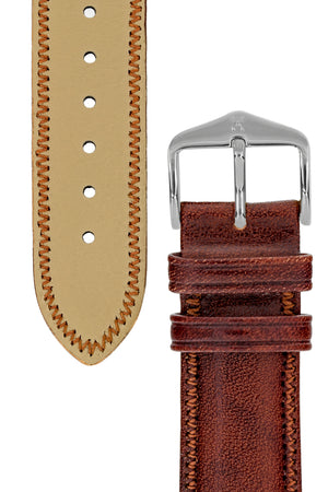 Hirsch Ascot English Leather Watch Strap in Gold Brown (Tapers & Buckle)