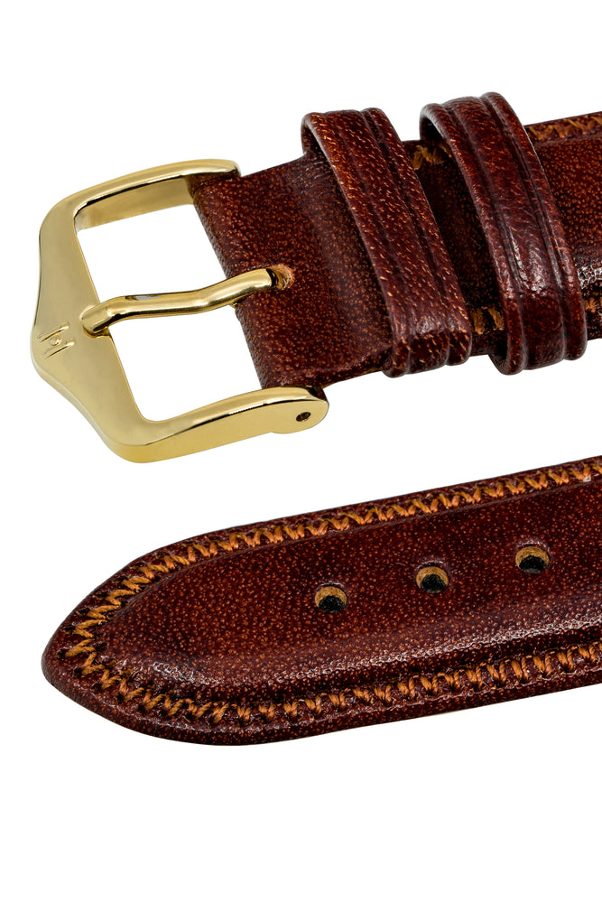 Hirsch Ascot English Leather Watch Strap in Gold Brown (Keepers)