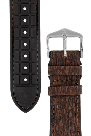 Hirsch BARK LE Eucalyptus Fibre Performance Watch Strap in BROWN