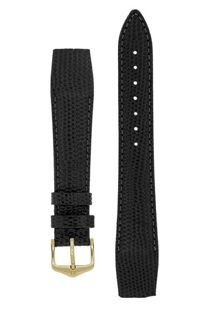 Hirsch Rainbow Lizard Embossed Open-Ended Watch Strap in Black (with Polished Gold Steel H-Tradition Buckle)