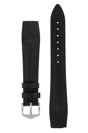 Hirsch Rainbow Lizard Embossed Open-Ended Watch Strap in Black (with Polished Silver Steel H-Tradition Buckle)