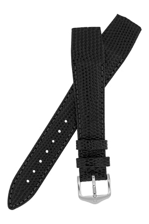 Hirsch Rainbow Lizard Embossed Open-Ended Watch Strap in Black