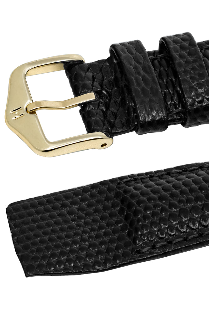Hirsch Rainbow Lizard Embossed Open-Ended Watch Strap in Black (Keepers & Padding)