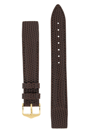 Hirsch Rainbow Lizard Embossed Open-Ended Watch Strap in Brown (with Polished Gold Steel H-Tradition Buckle)