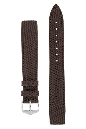 Hirsch Rainbow Lizard Embossed Open-Ended Watch Strap in Brown (with Polished Silver Steel H-Tradition Buckle)
