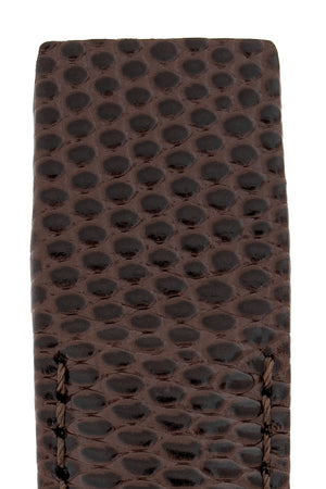 Hirsch Rainbow Lizard Embossed Open-Ended Watch Strap in Brown (Close-Up Texture Detail)