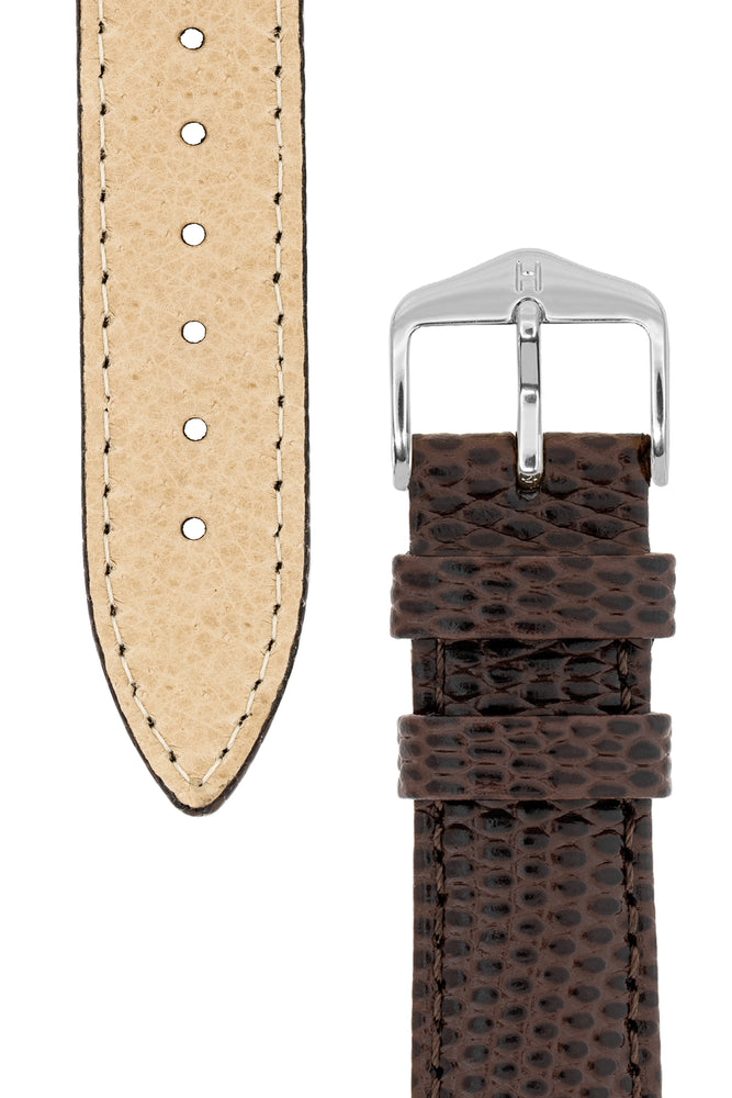 Load image into Gallery viewer, Hirsch Rainbow Lizard Embossed Open-Ended Watch Strap in Brown (Underside & Tapers)