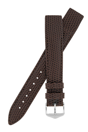 Hirsch Rainbow Lizard Embossed Open-Ended Watch Strap in Brown