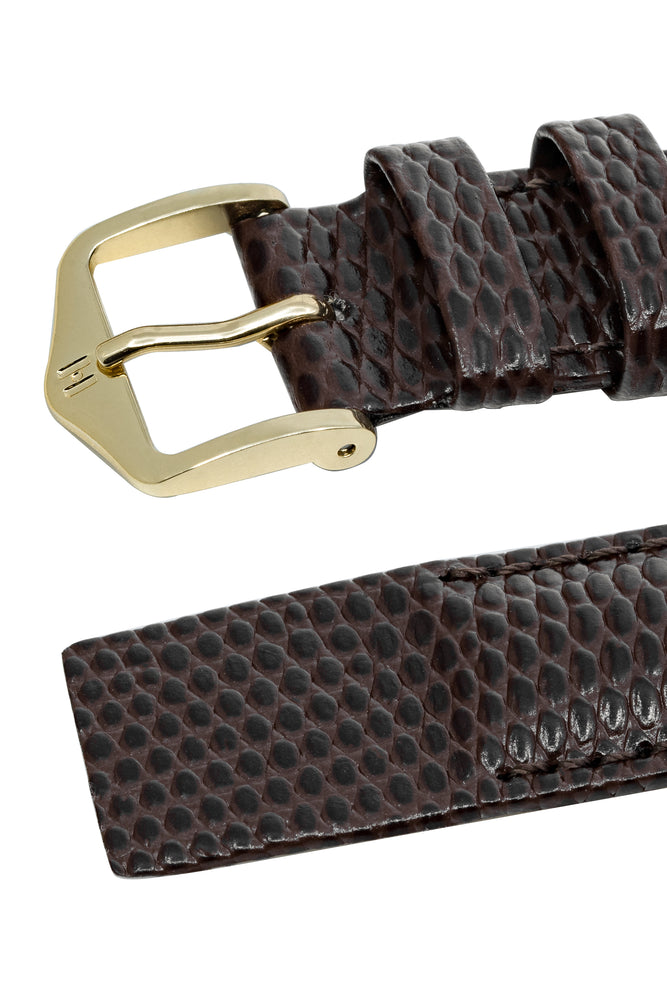 Hirsch Rainbow Lizard Embossed Open-Ended Watch Strap in Brown (Keepers & Padding)