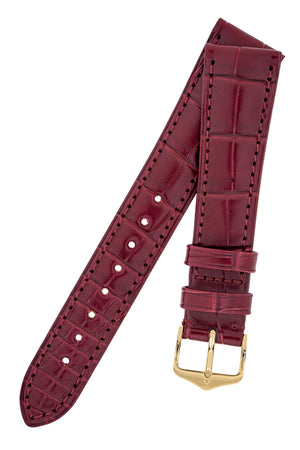 Hirsch LONDON Matt Alligator Leather Watch Strap in BURGUNDY