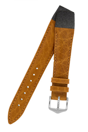 Hirsch Camelgrain Open-Ended Hypoallergenic Leather Watch Strap in Honey Brown
