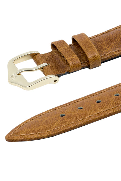Hirsch CAMELGRAIN Open Ended No Allergy Leather Watch Strap in HONEY