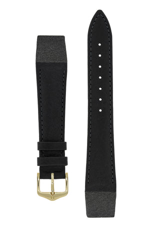 Hirsch CAMELGRAIN Open Ended No Allergy Leather Watch Strap in BLACK