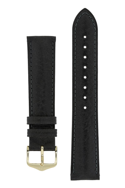 Hirsch Camelgrain Hypoallergenic Leather Watch Strap in Black (with Polished Gold Steel H-Standard Buckle)