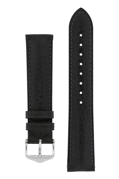 Hirsch Camelgrain Hypoallergenic Leather Watch Strap in Black (with Polished Silver Steel H-Standard Buckle)