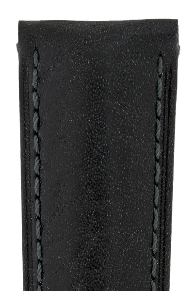 Hirsch Camelgrain Hypoallergenic Leather Watch Strap in Black (Texture Detail)
