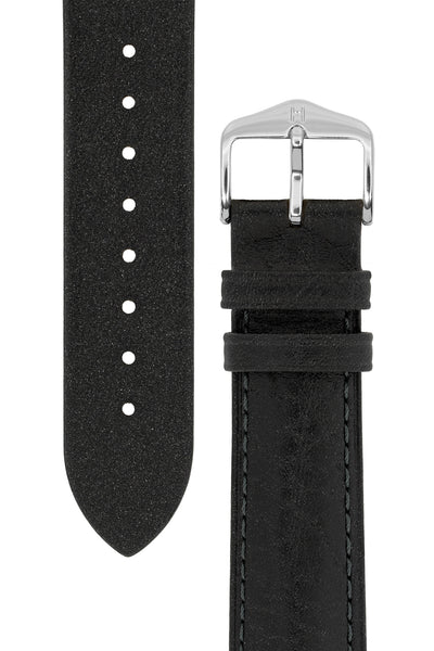 Hirsch Camelgrain Hypoallergenic Leather Watch Strap in Black (Tapers & Buckle)