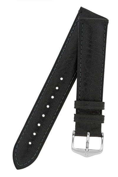 Hirsch Camelgrain Hypoallergenic Leather Watch Strap in Black