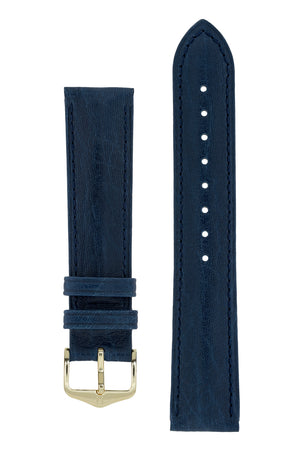 Hirsch Camelgrain Hypoallergenic Leather Watch Strap in Blue (with Polished Gold Steel H-Standard Buckle)