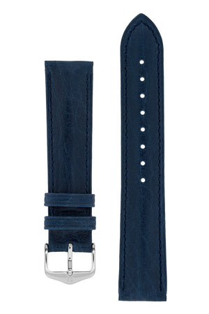 Hirsch Camelgrain Hypoallergenic Leather Watch Strap in Blue (with Polished Silver Steel H-Standard Buckle)