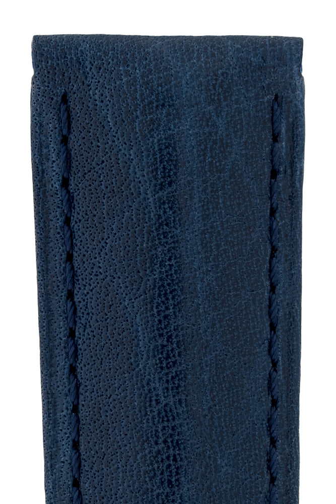 Hirsch Camelgrain Hypoallergenic Leather Watch Strap in Blue (Texture Detail)