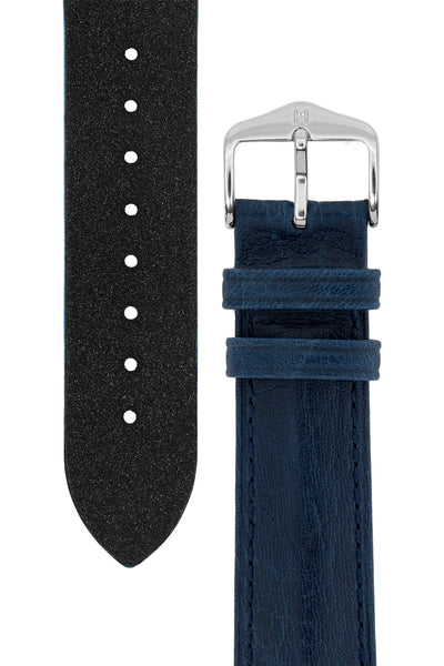 Hirsch Camelgrain Hypoallergenic Leather Watch Strap in Blue (Tapers & Buckle)