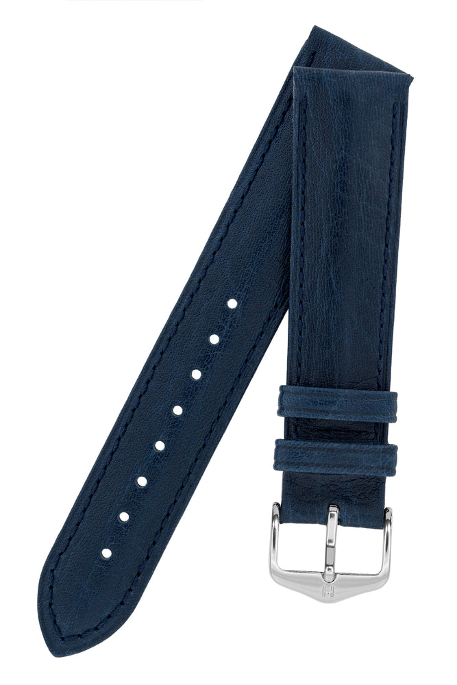 Hirsch Camelgrain Hypoallergenic Leather Watch Strap in Blue