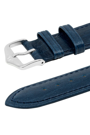 Hirsch Camelgrain Hypoallergenic Leather Watch Strap in Blue (Keepers)